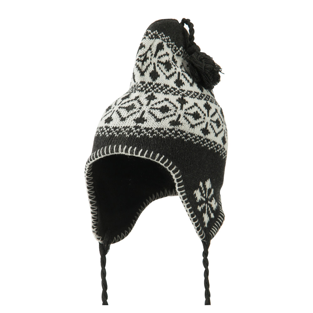 Pattern Fleece Lined Ski Beanie - Charcoal - Hats and Caps Online Shop - Hip Head Gear