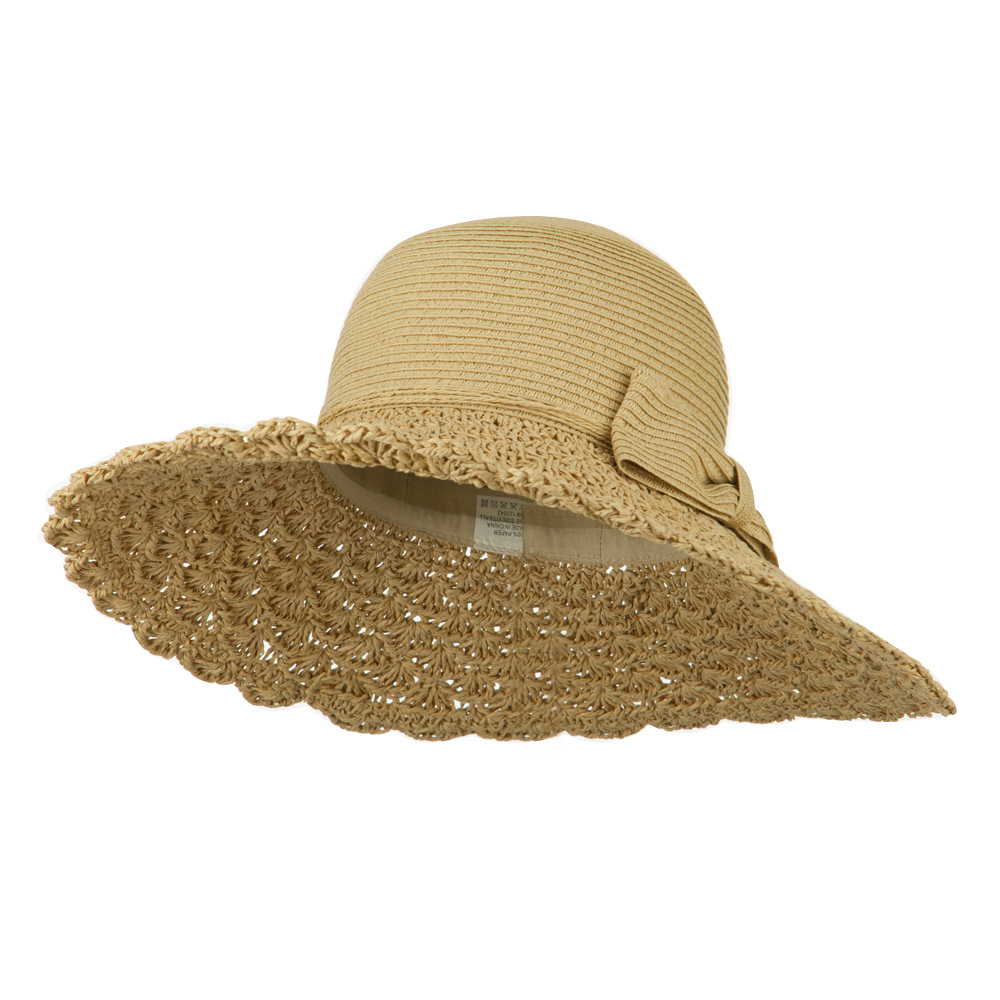 Bow Accent Paper Toyo Braid Hat - Tan Tan - Hats and Caps Online Shop - Hip Head Gear