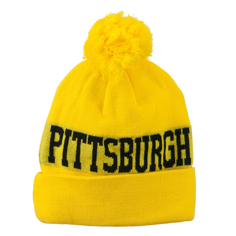 Neon Pittsburgh College Town Pom Beanie - Yellow
