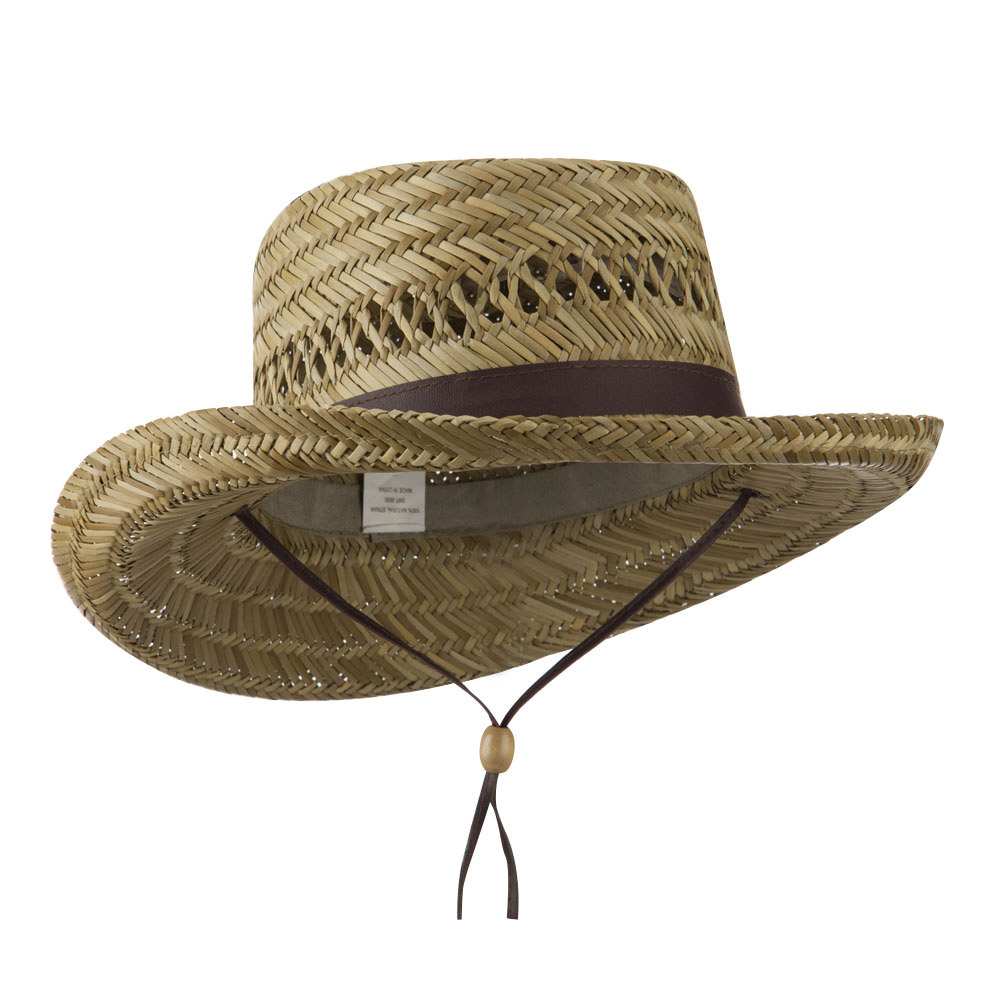 Gambler Straw Hat with PU Trim - Brown - Hats and Caps Online Shop - Hip Head Gear