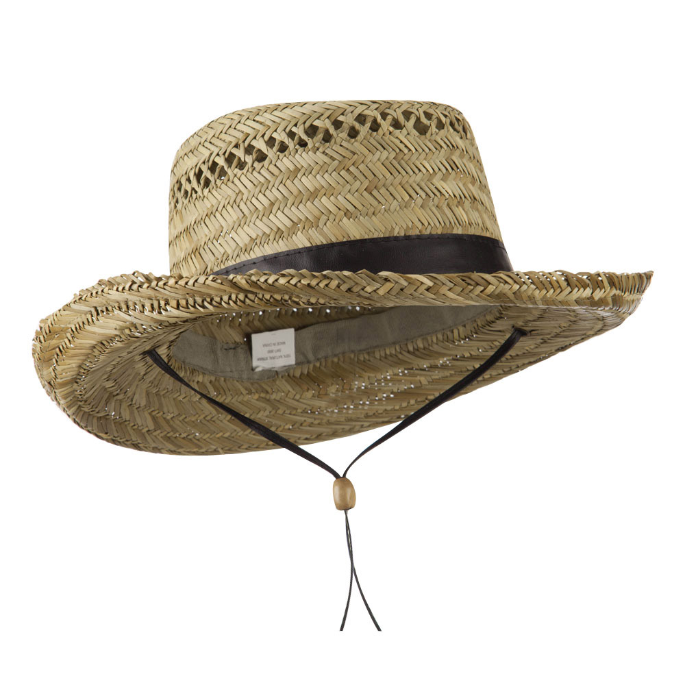 Gambler Straw Hat with PU Trim - Black - Hats and Caps Online Shop - Hip Head Gear