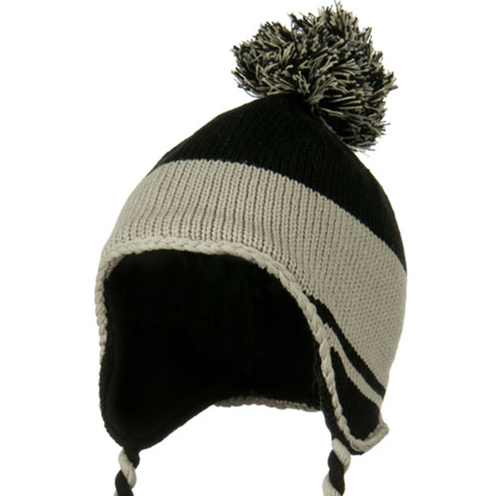Peruvian Style Knit with Ear Flap Ski Beanie - Black Grey - Hats and Caps Online Shop - Hip Head Gear