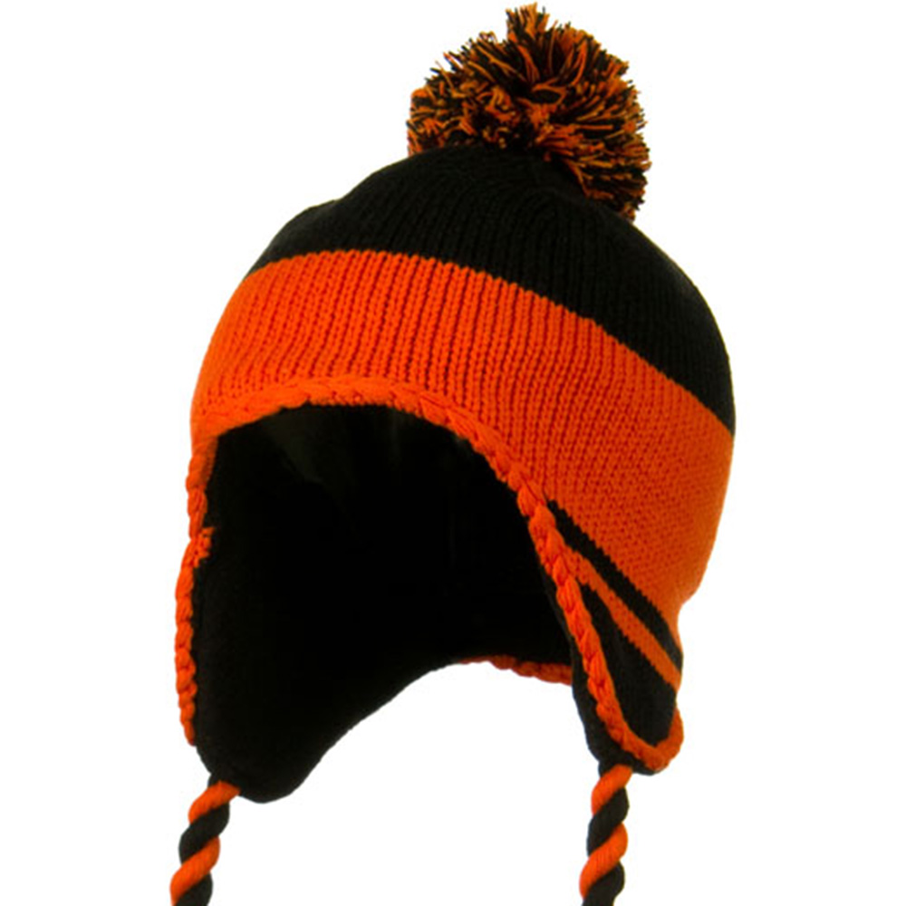 Peruvian Style Knit with Ear Flap Ski Beanie - Black Orange - Hats and Caps Online Shop - Hip Head Gear