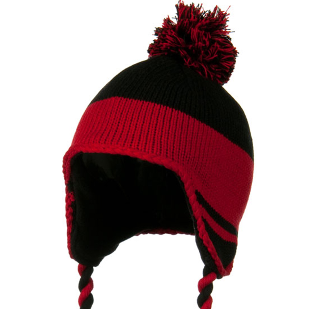 Peruvian Style Knit with Ear Flap Ski Beanie - Black Red - Hats and Caps Online Shop - Hip Head Gear