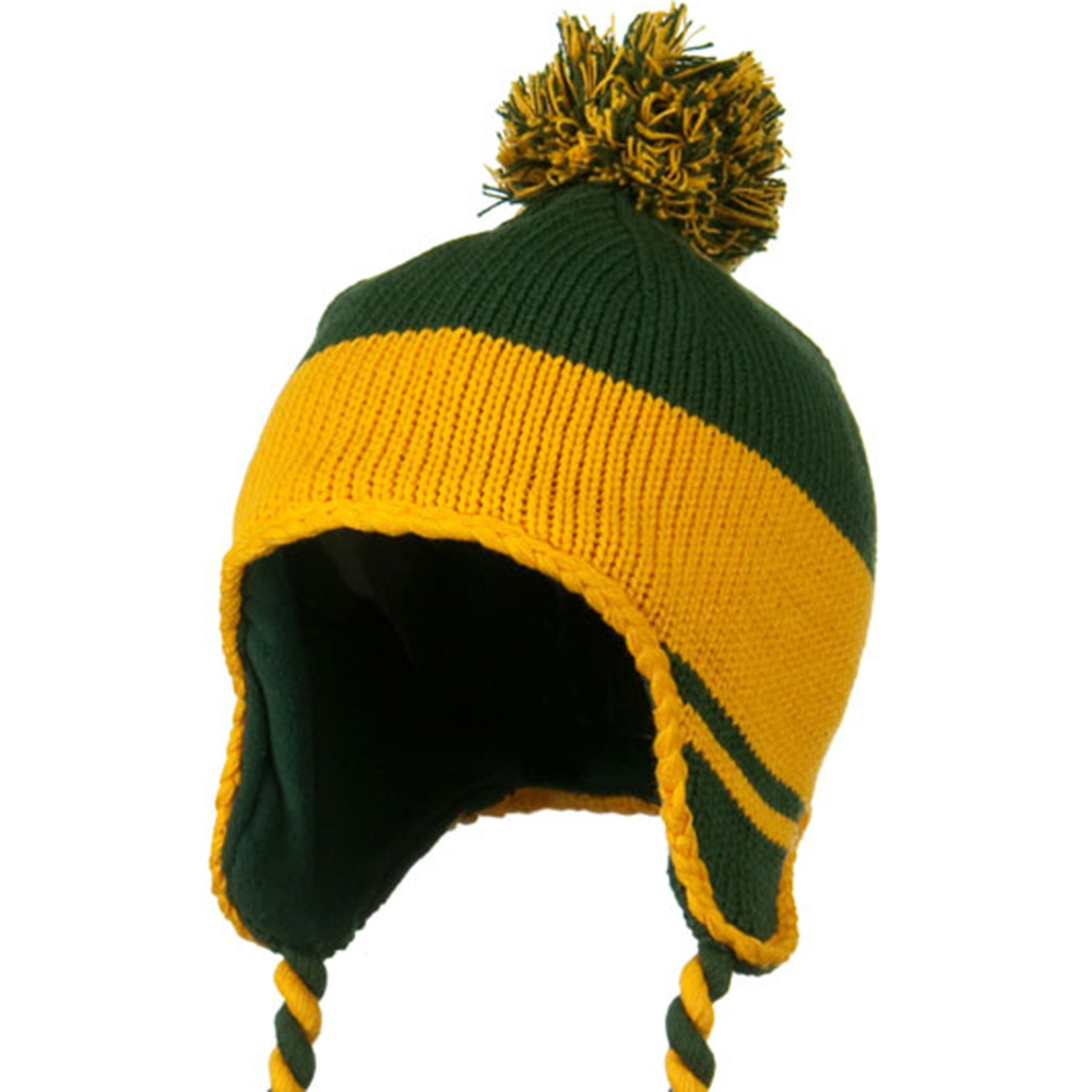Peruvian Style Knit with Ear Flap Ski Beanie - Green Gold - Hats and Caps Online Shop - Hip Head Gear