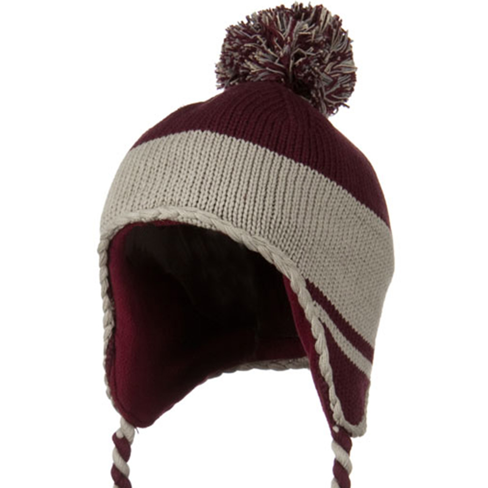 Peruvian Style Knit with Ear Flap Ski Beanie - Maroon Grey - Hats and Caps Online Shop - Hip Head Gear