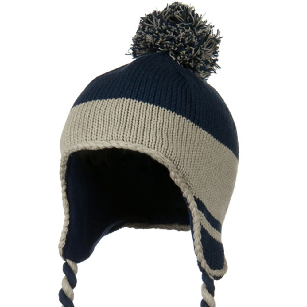 Peruvian Style Knit with Ear Flap Ski Beanie - Navy Grey - Hats and Caps Online Shop - Hip Head Gear