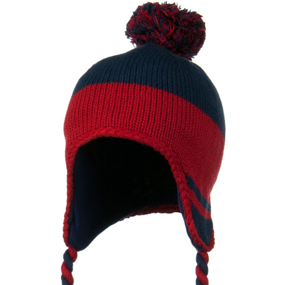 Peruvian Style Knit with Ear Flap Ski Beanie - Navy Red - Hats and Caps Online Shop - Hip Head Gear
