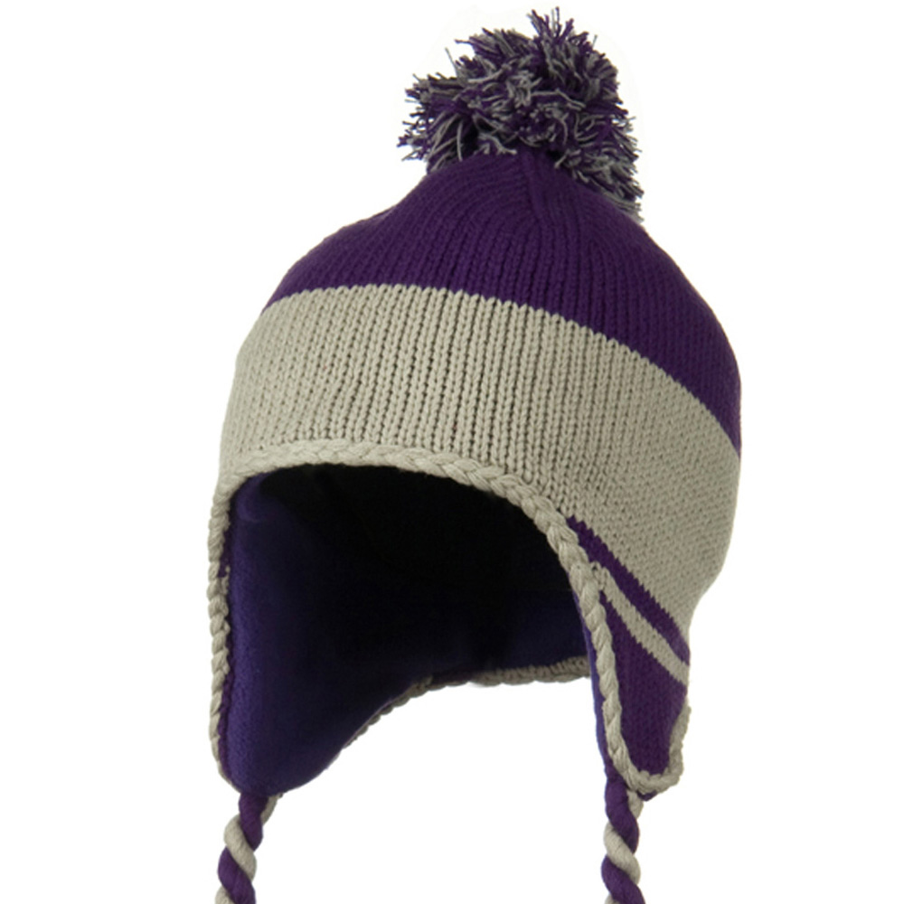 Peruvian Style Knit with Ear Flap Ski Beanie - Purple Grey - Hats and Caps Online Shop - Hip Head Gear