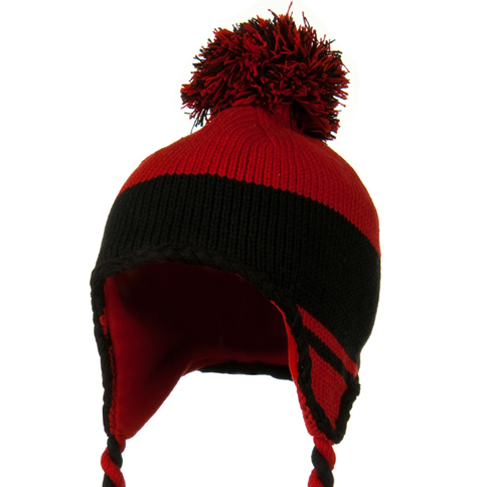 Peruvian Style Knit with Ear Flap Ski Beanie - Red Black - Hats and Caps Online Shop - Hip Head Gear