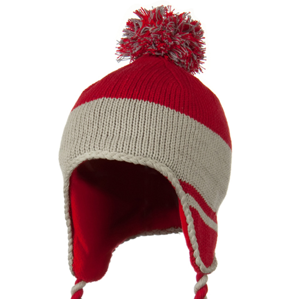 Peruvian Style Knit with Ear Flap Ski Beanie - Red Grey - Hats and Caps Online Shop - Hip Head Gear