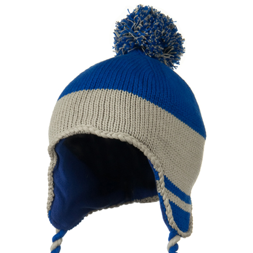 Peruvian Style Knit with Ear Flap Ski Beanie - Royal Grey - Hats and Caps Online Shop - Hip Head Gear