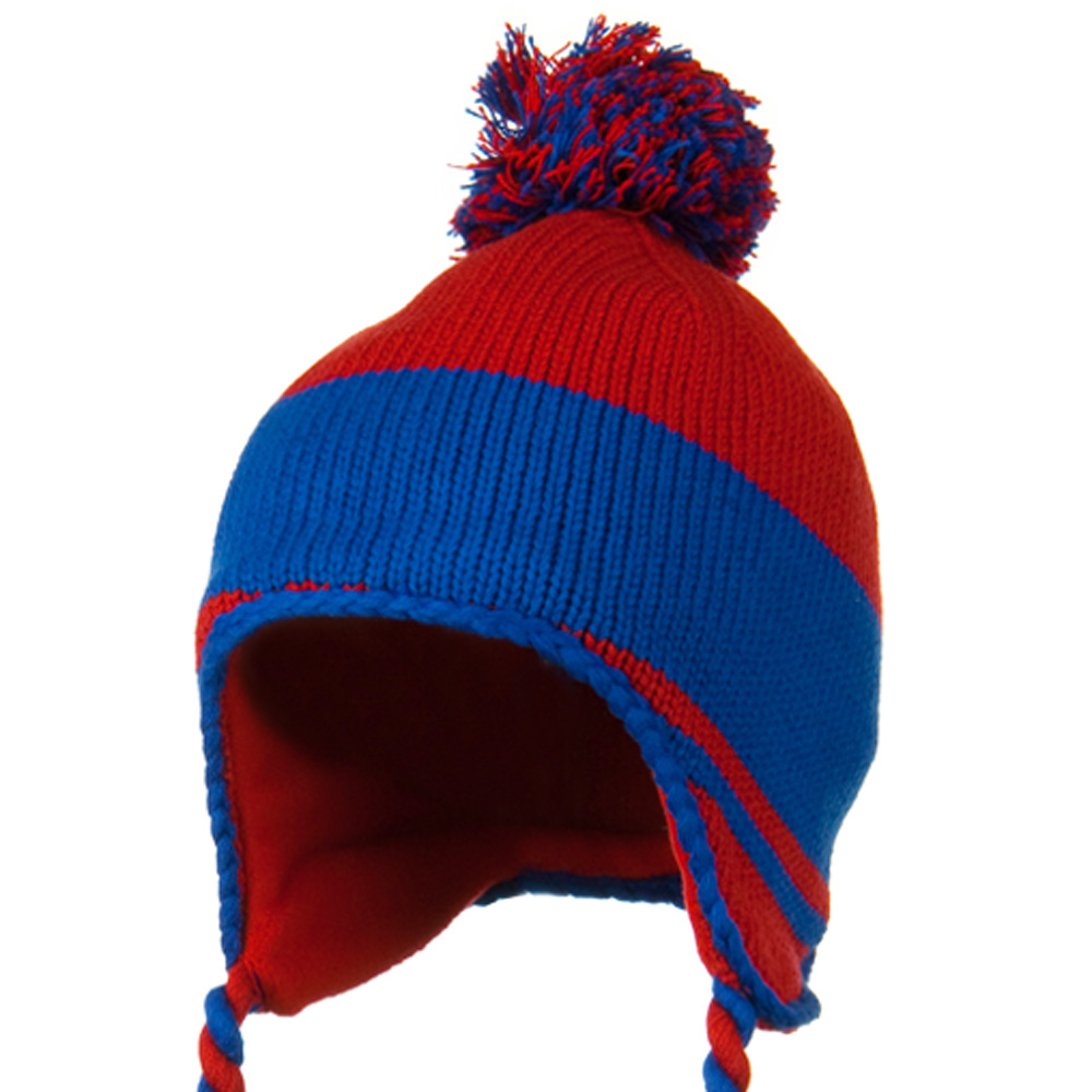Peruvian Style Knit with Ear Flap Ski Beanie - Red Royal - Hats and Caps Online Shop - Hip Head Gear