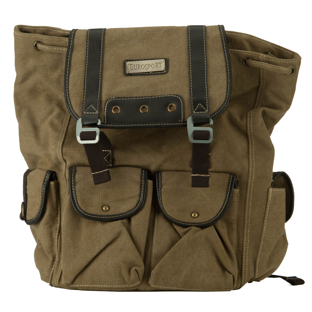 Pre Washed Canvas Backpack - Khaki