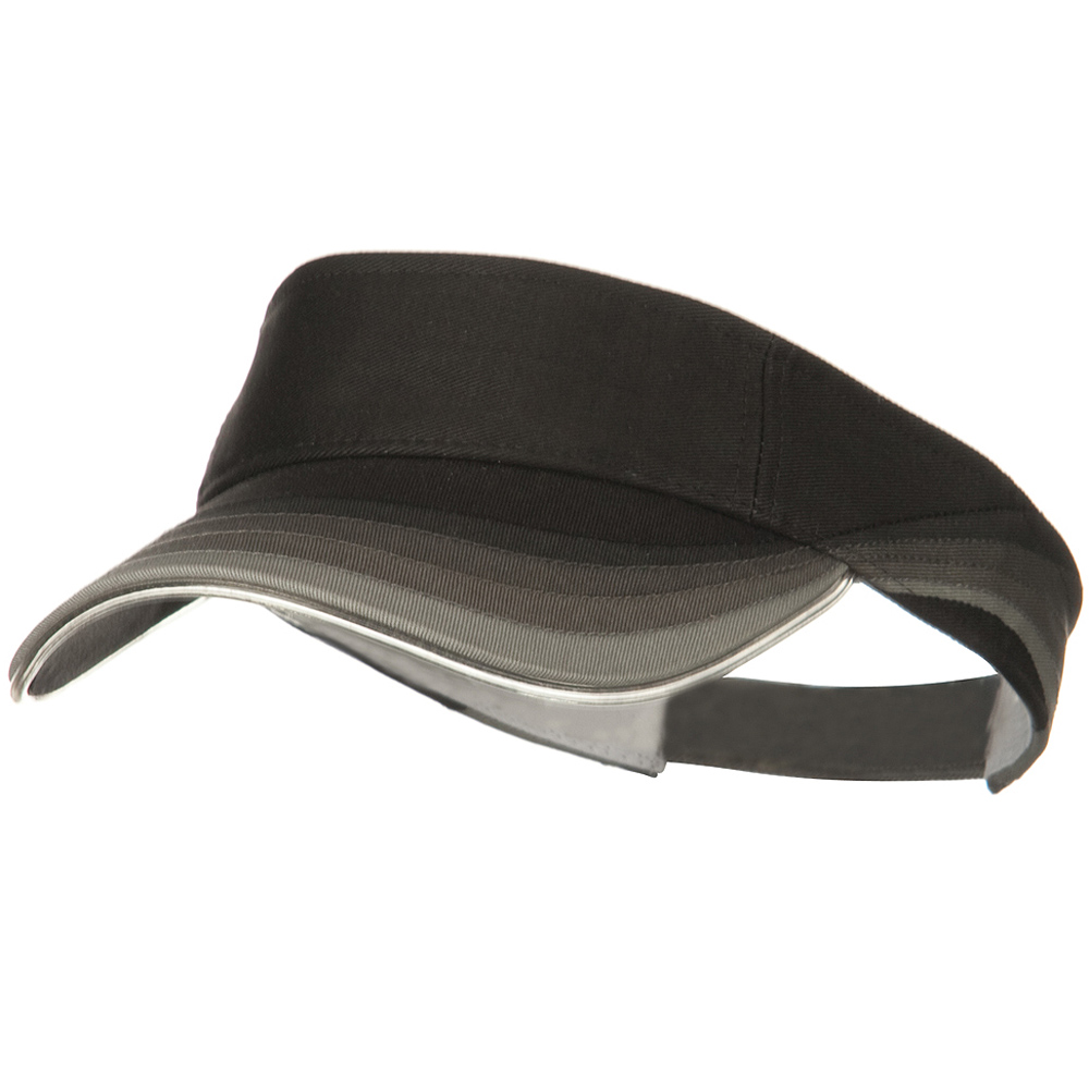 3 Panel Wave Cotton Piping Visor - Black - Hats and Caps Online Shop - Hip Head Gear