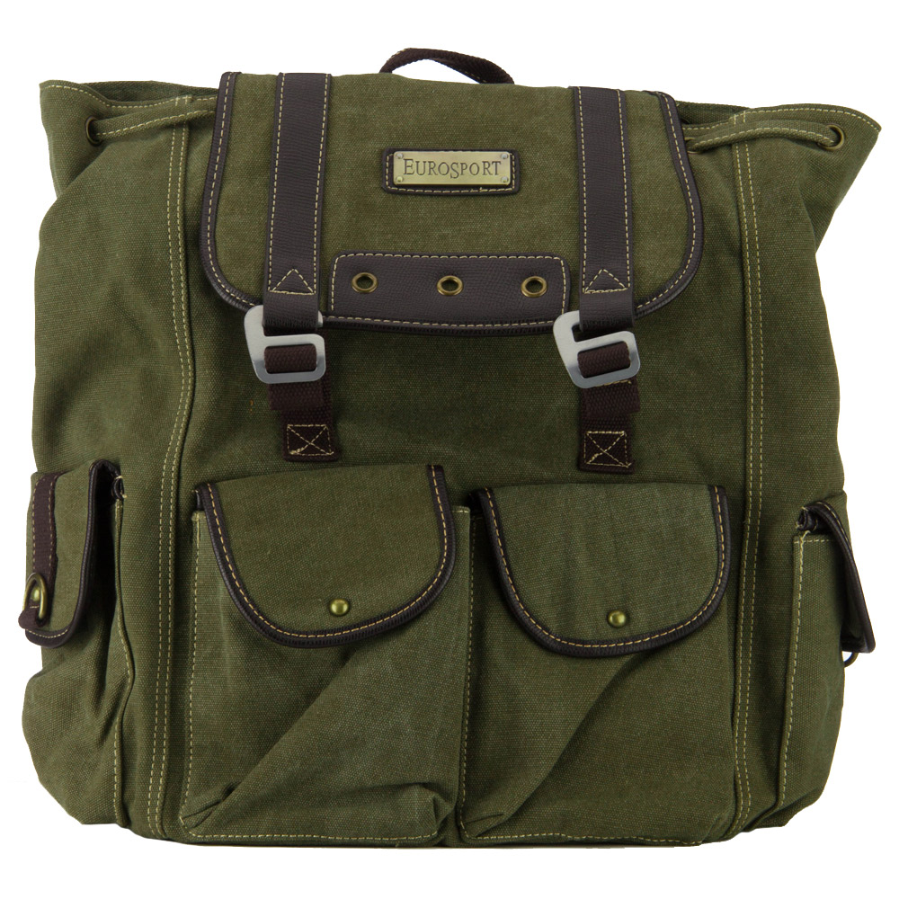 Pre Washed Canvas Backpack - Olive