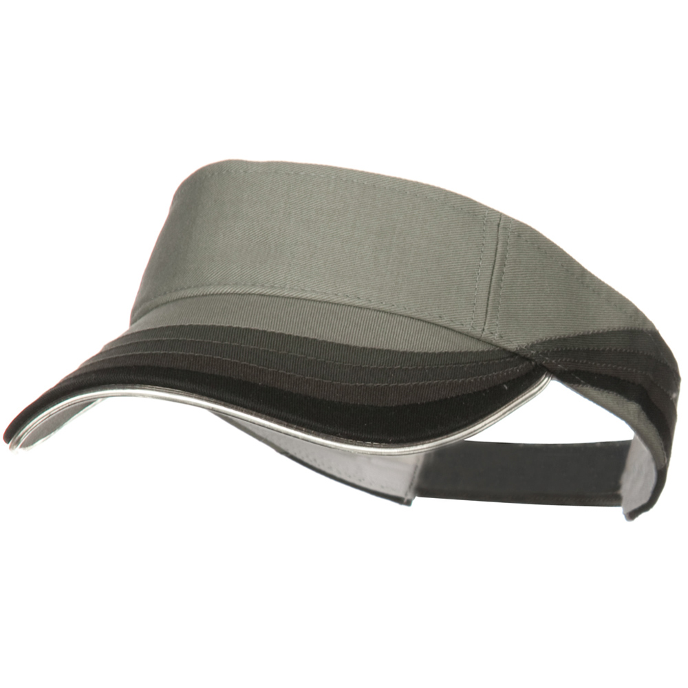 3 Panel Wave Cotton Piping Visor - Grey - Hats and Caps Online Shop - Hip Head Gear