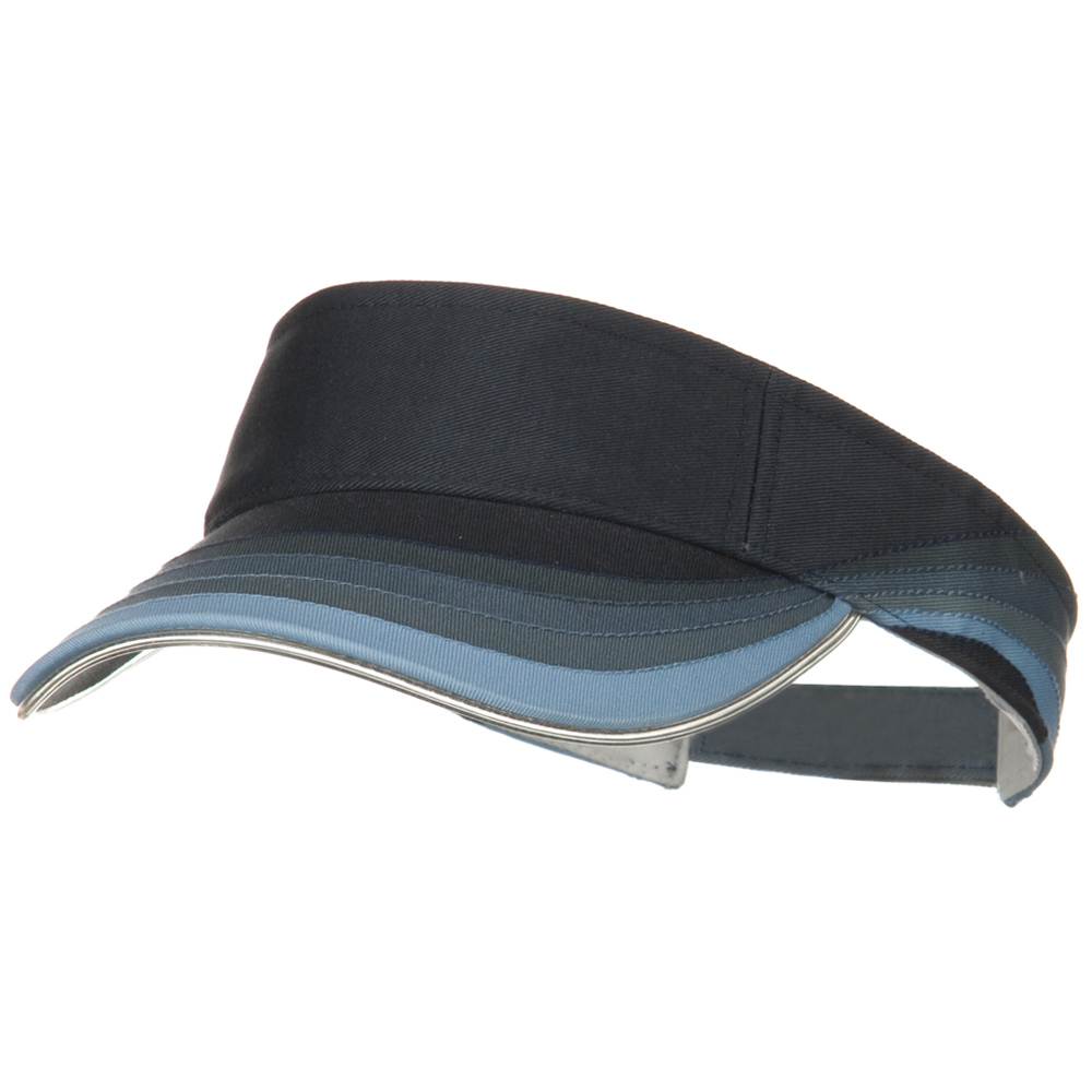 3 Panel Wave Cotton Piping Visor - Navy - Hats and Caps Online Shop - Hip Head Gear