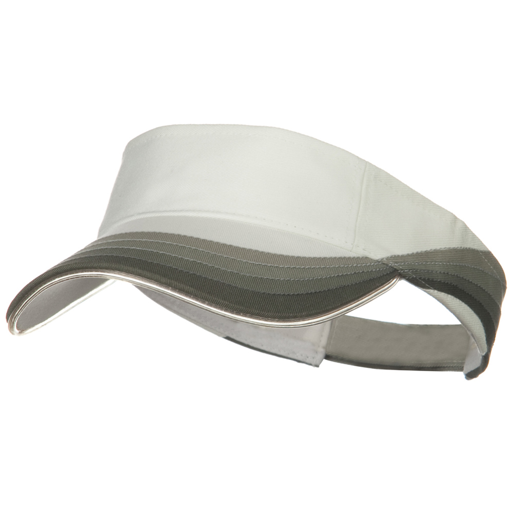 3 Panel Wave Cotton Piping Visor - White - Hats and Caps Online Shop - Hip Head Gear