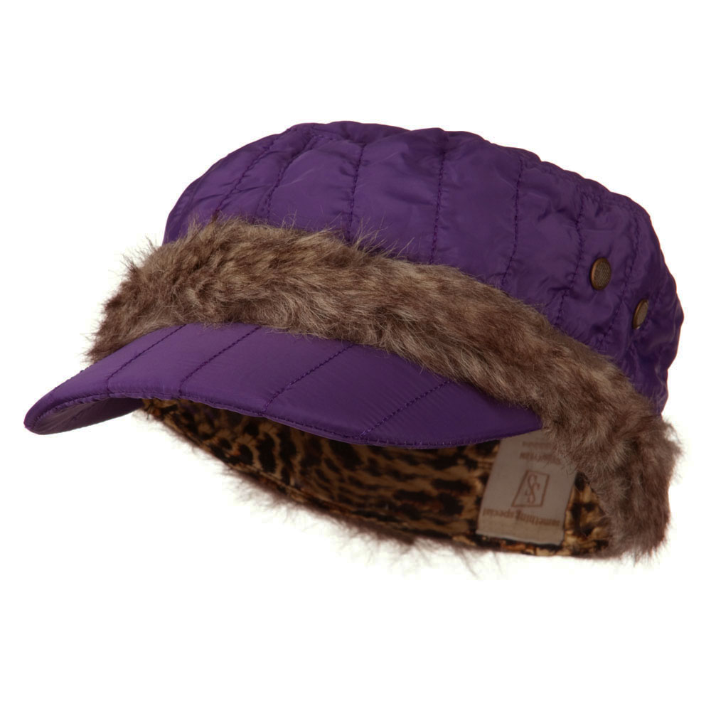 Fur Trimming Quilted Cap - Purple - Hats and Caps Online Shop - Hip Head Gear