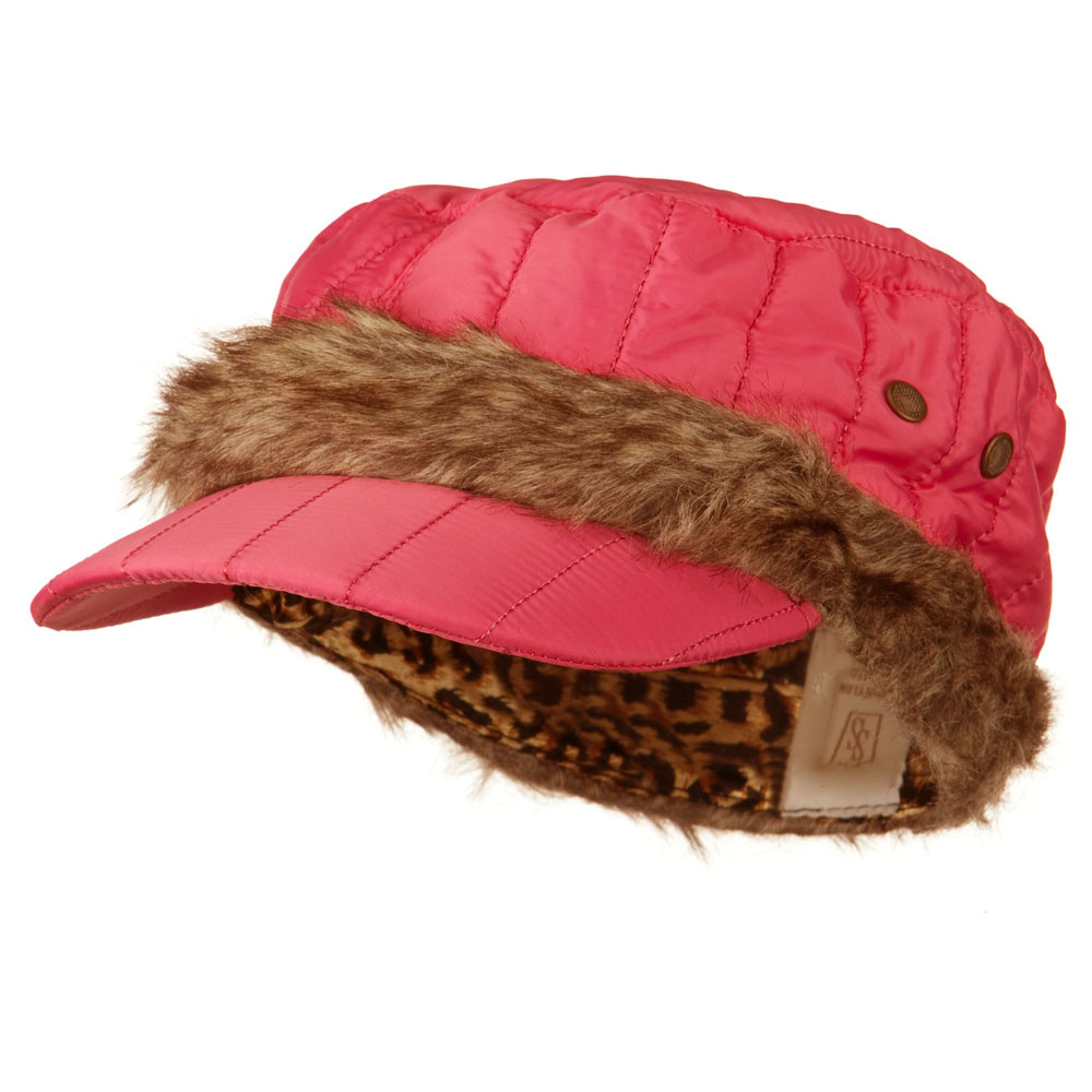 Fur Triming Quilted Cap - Pink