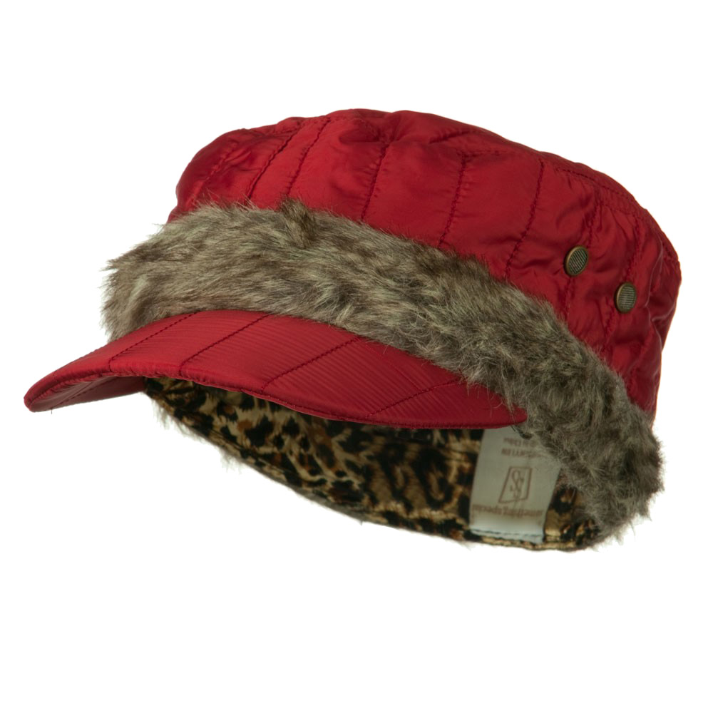 Fur Triming Quilted Cap - Red - Hats and Caps Online Shop - Hip Head Gear
