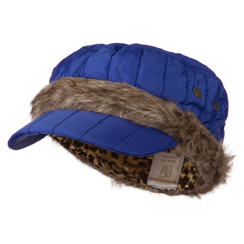 Fur Triming Quilted Cap - Blue - Hats and Caps Online Shop - Hip Head Gear