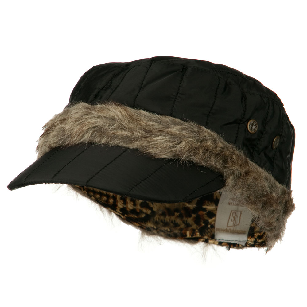 Fur Triming Quilted Cap - Black - Hats and Caps Online Shop - Hip Head Gear