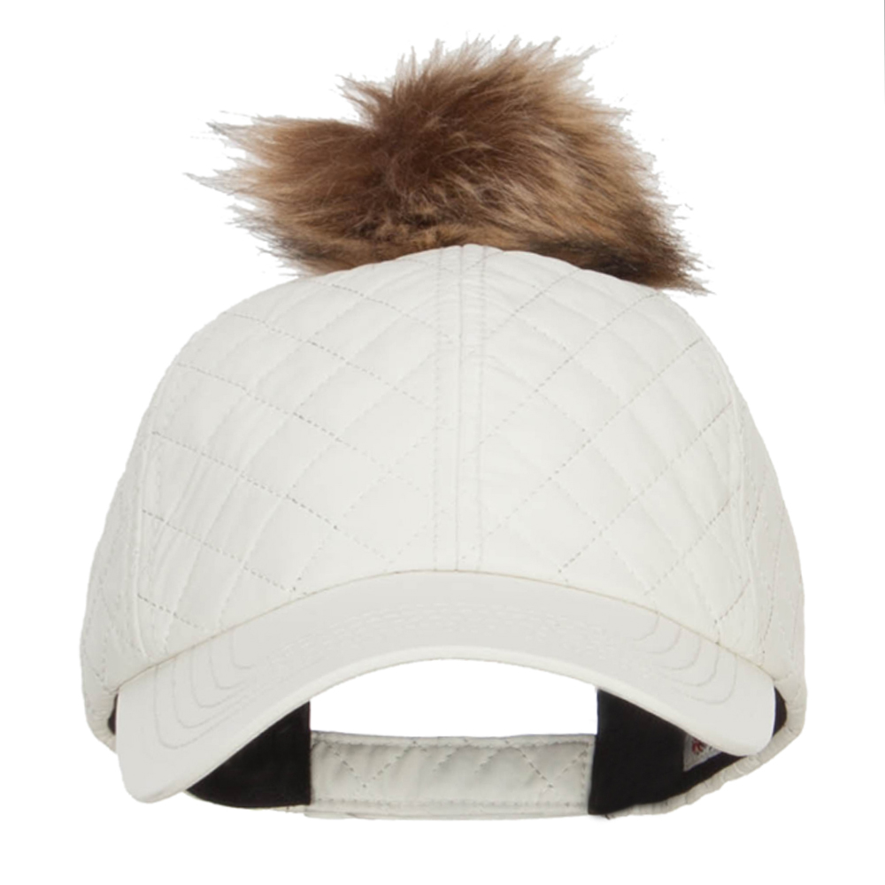 Quilted PU Cap with Pom Pom - White