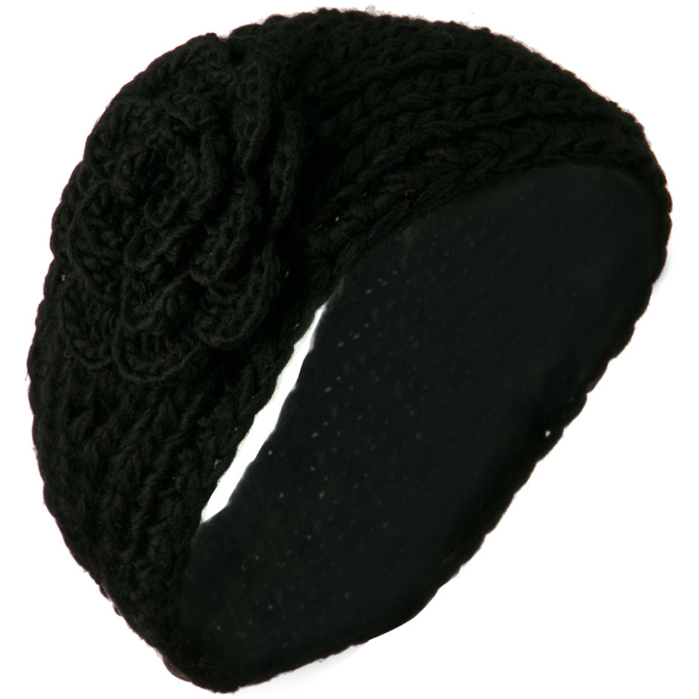 Large Rose Accent Woman's Head Band - Black - Hats and Caps Online Shop - Hip Head Gear