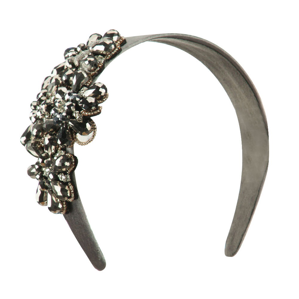 Flower Rhinestone Accented Headband with Diamonds - Silver - Hats and Caps Online Shop - Hip Head Gear