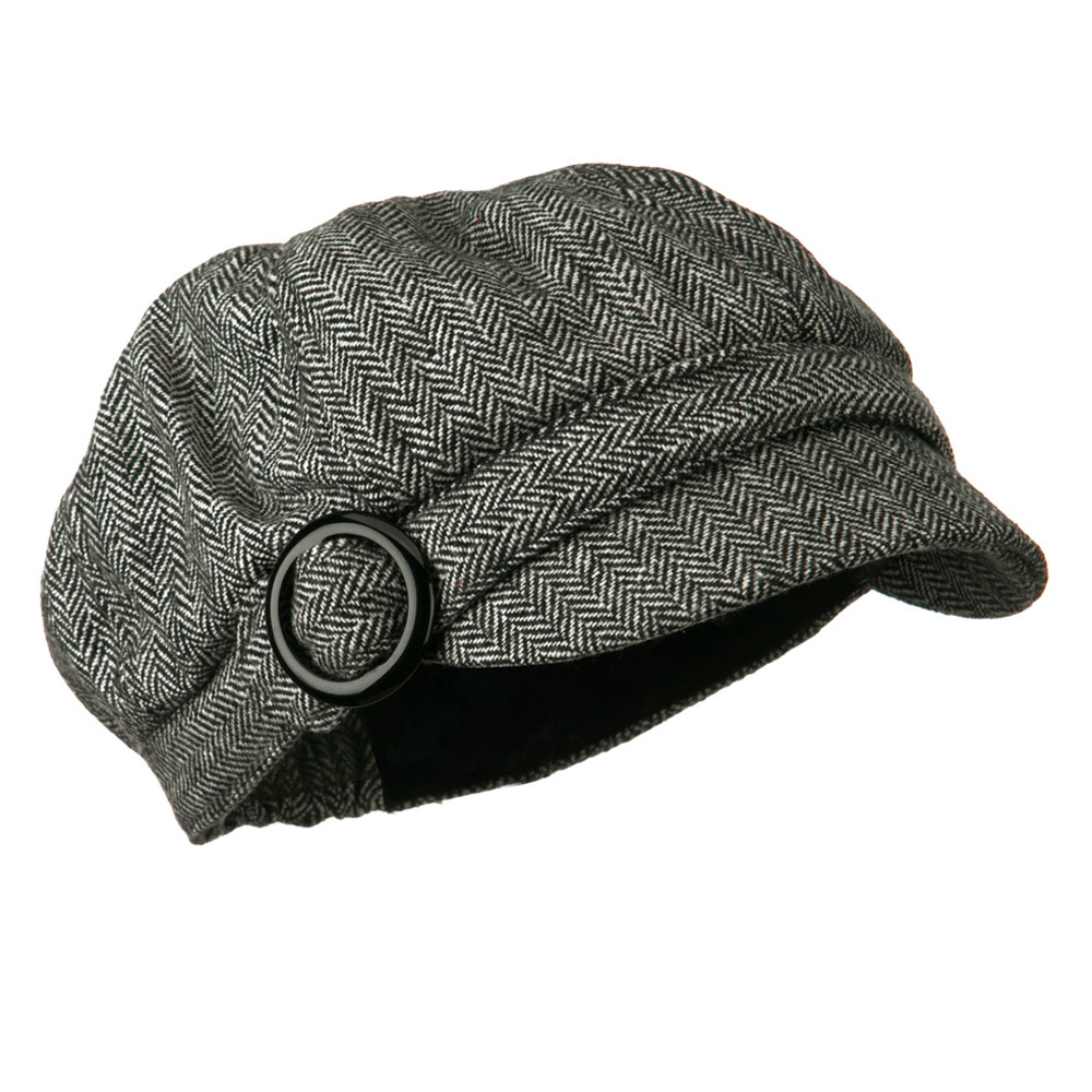 Herringbone Style Wool Newsboy Cap with Round Buckle - Black - Hats and Caps Online Shop - Hip Head Gear