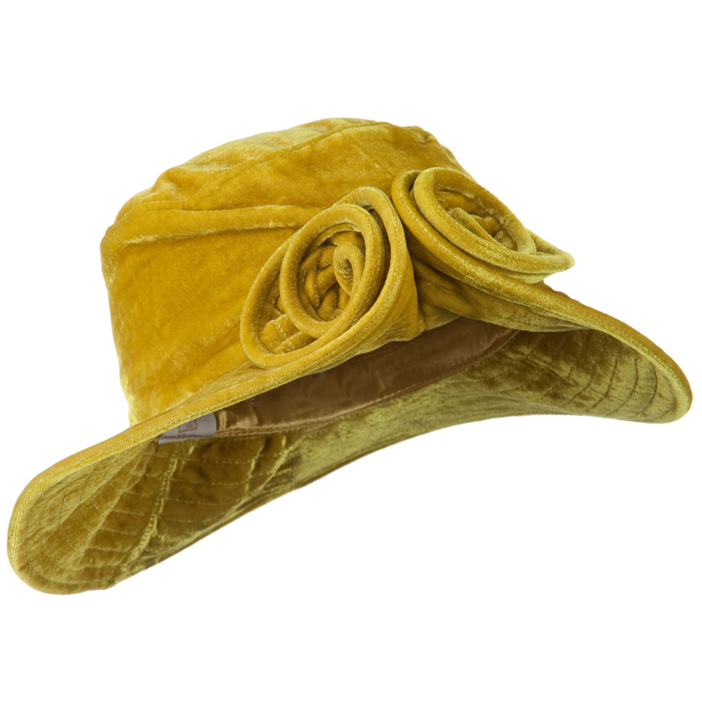 Rolled Brim Velvet Flower Hat - Camel - Hats and Caps Online Shop - Hip Head Gear