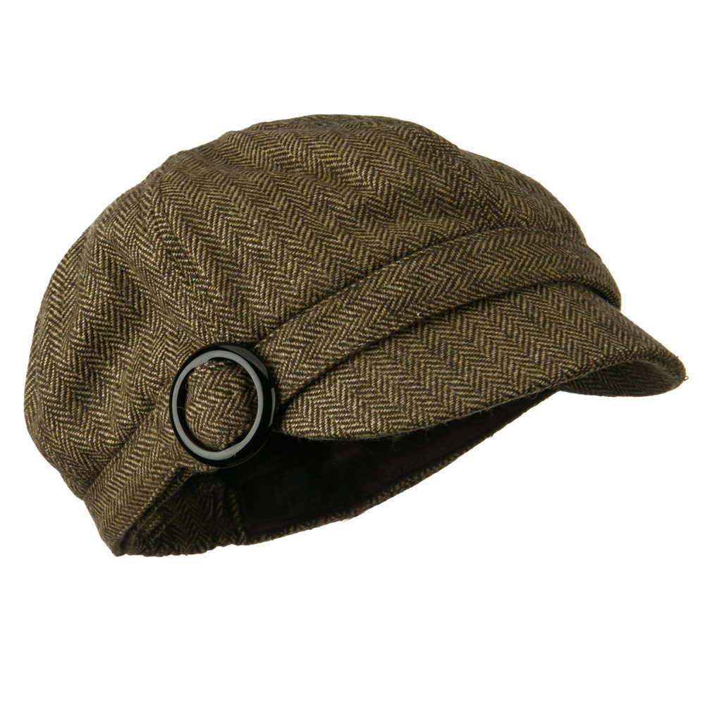 Herringbone Style Wool Newsboy Cap with Round Buckle - Brown - Hats and Caps Online Shop - Hip Head Gear