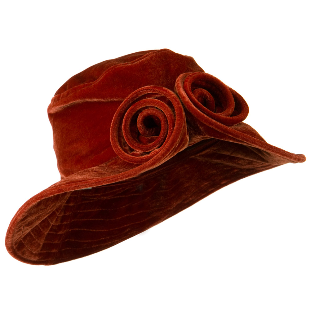 Rolled Brim Velvet Flower Hat - Rust - Hats and Caps Online Shop - Hip Head Gear
