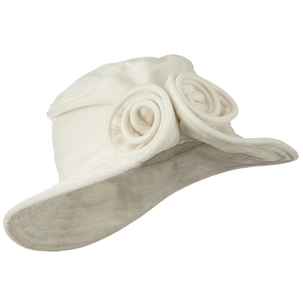 Rolled Brim Velvet Flower Hat - White - Hats and Caps Online Shop - Hip Head Gear