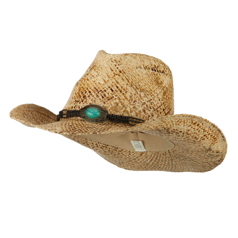 Raffia Cowboy Hat with Snake Skin Stain - Moroco - Hats and Caps Online Shop - Hip Head Gear