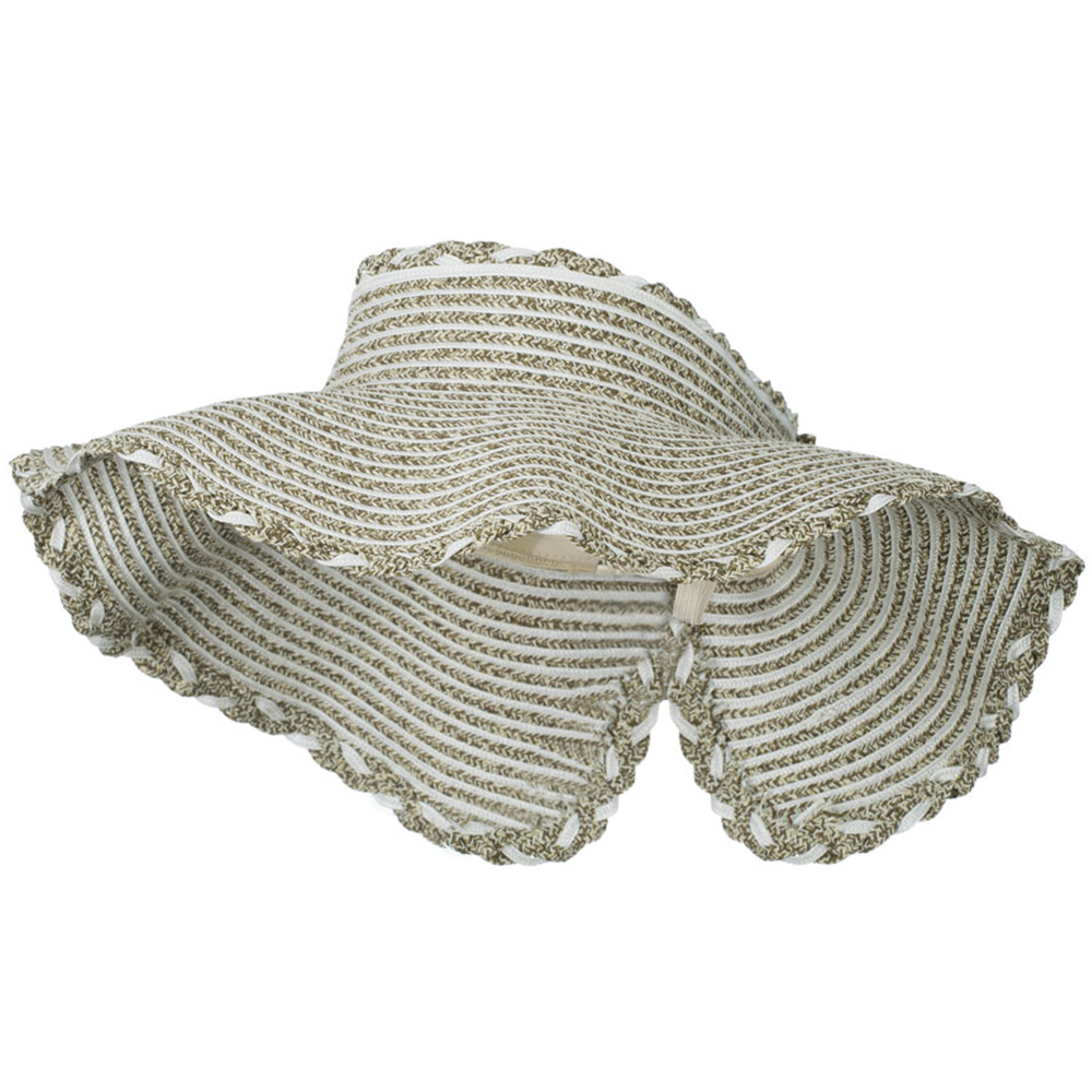 Paper Braid Ribbon Closure Roll Up Visor - Brown Ivory - Hats and Caps Online Shop - Hip Head Gear