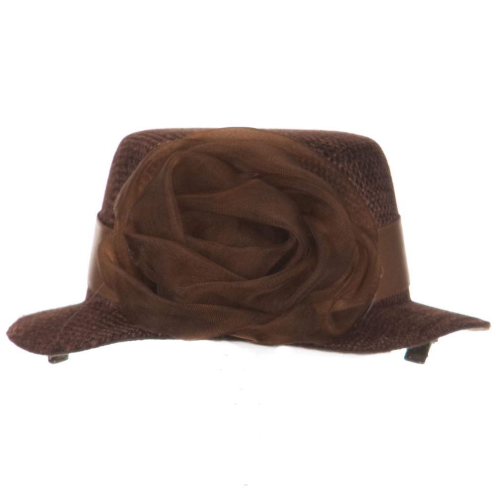Rose and Ribbon Small Hat Fascinator - Brown - Hats and Caps Online Shop - Hip Head Gear