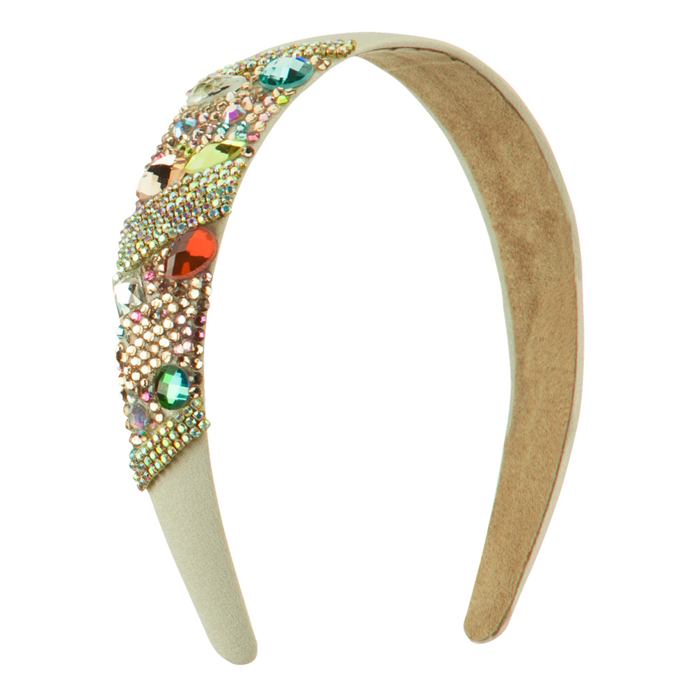 Multi Color Rhinestone Headband - Beige - Hats and Caps Online Shop - Hip Head Gear
