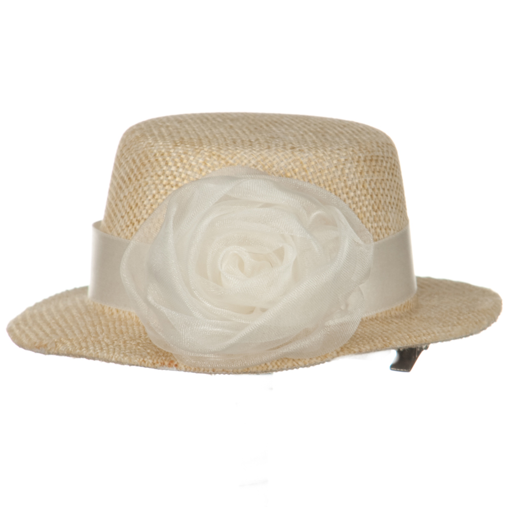 Rose and Ribbon Small Hat Fascinator - Beige - Hats and Caps Online Shop - Hip Head Gear