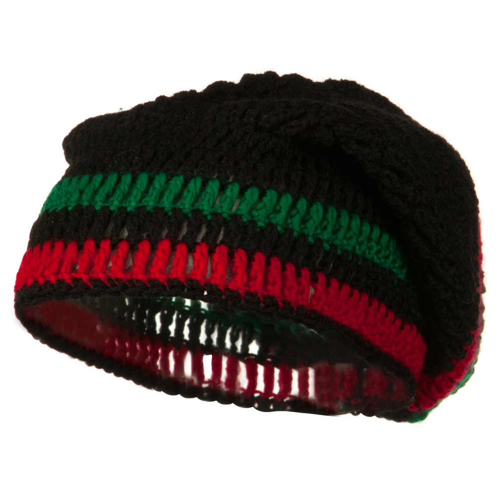 Rasta Knitted Big Skull Beanie - Black Green Red - Hats and Caps Online Shop - Hip Head Gear