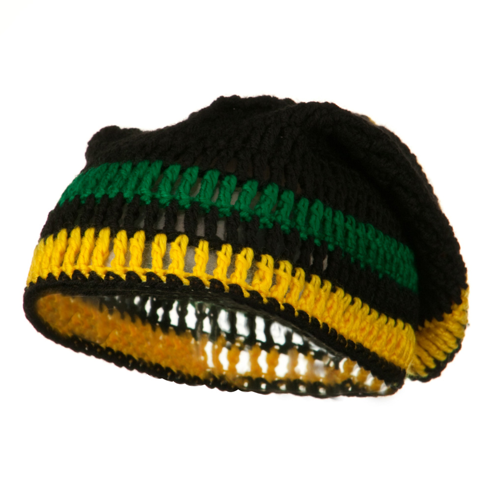 Rasta Knitted Big Skull Beanie - Black Green Yellow - Hats and Caps Online Shop - Hip Head Gear