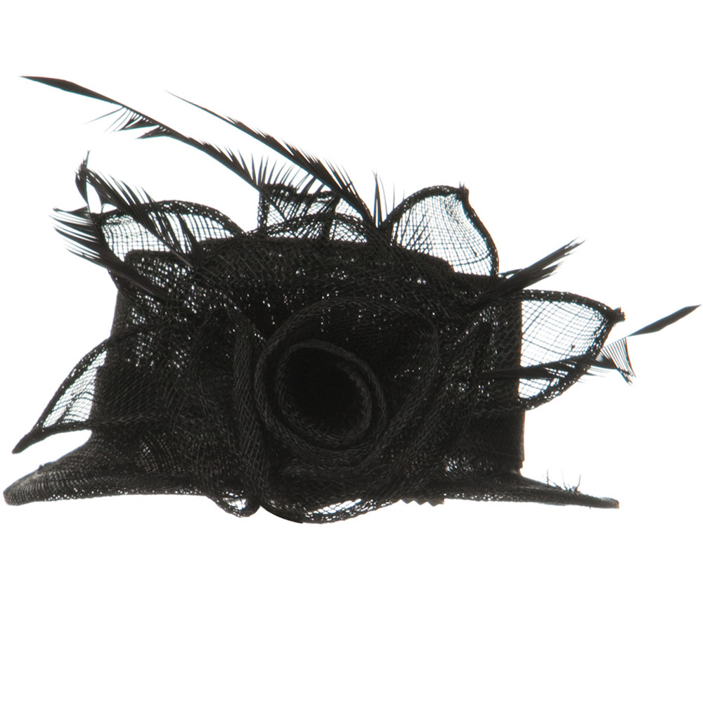 Rose Ribbon Sinamay Mini Hat - Black - Hats and Caps Online Shop - Hip Head Gear