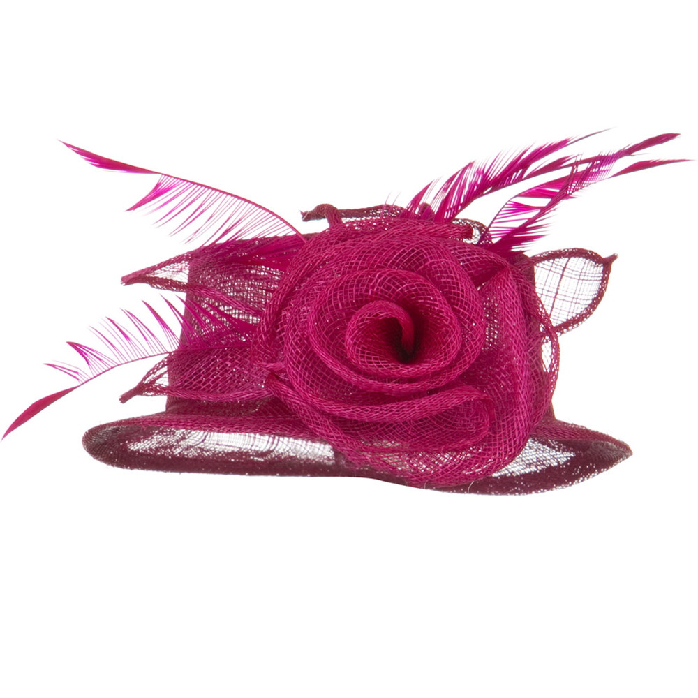 Rose Ribbon Sinamay Mini Hat - Fuchsia - Hats and Caps Online Shop - Hip Head Gear