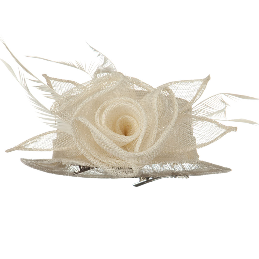 Rose Ribbon Sinamay Mini Hat - Ivory - Hats and Caps Online Shop - Hip Head Gear