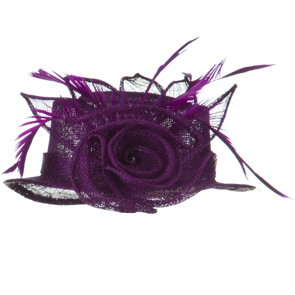 Rose Ribbon Sinamay Mini Hat - Purple - Hats and Caps Online Shop - Hip Head Gear
