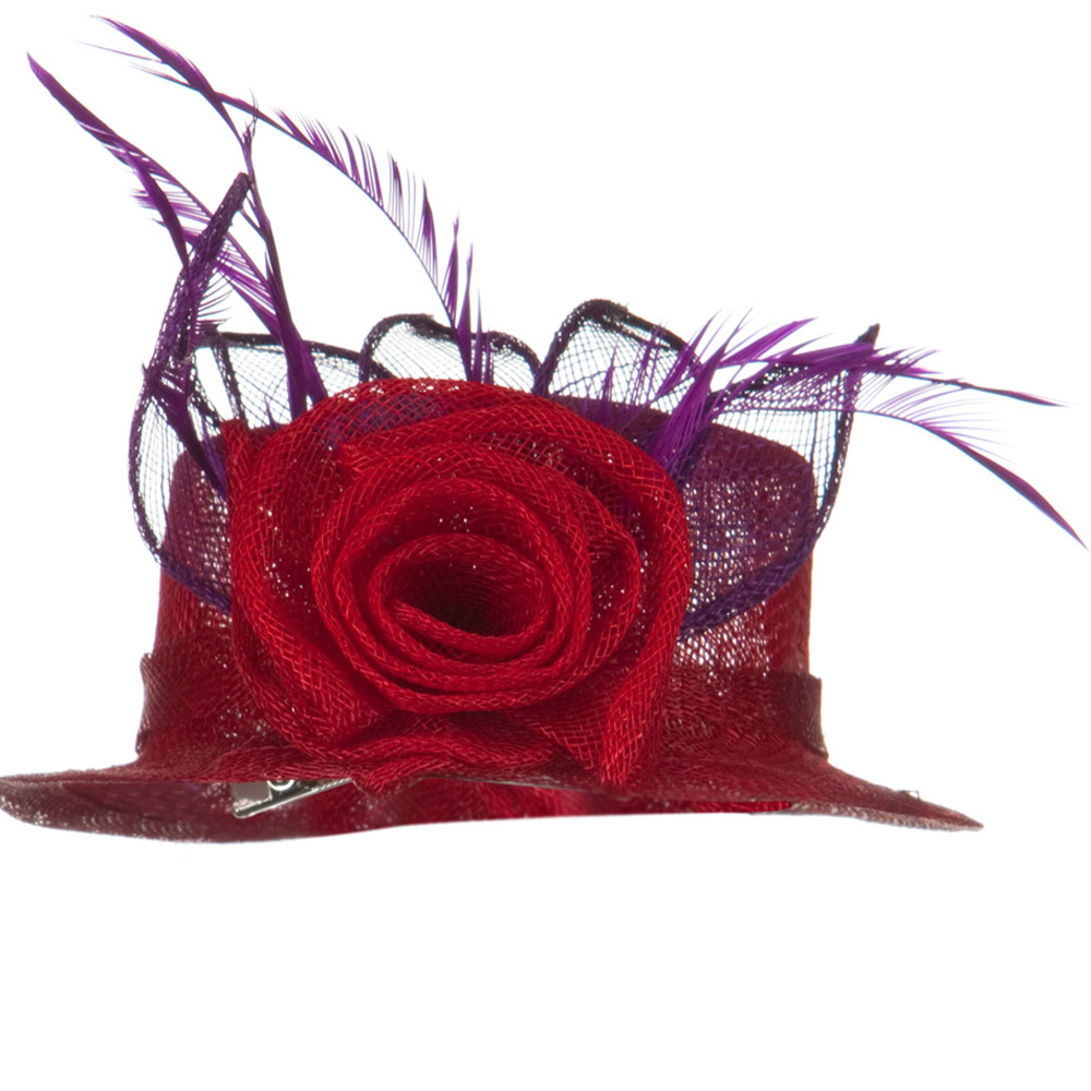 Rose Ribbon Sinamay Mini Hat - Red Purple - Hats and Caps Online Shop - Hip Head Gear