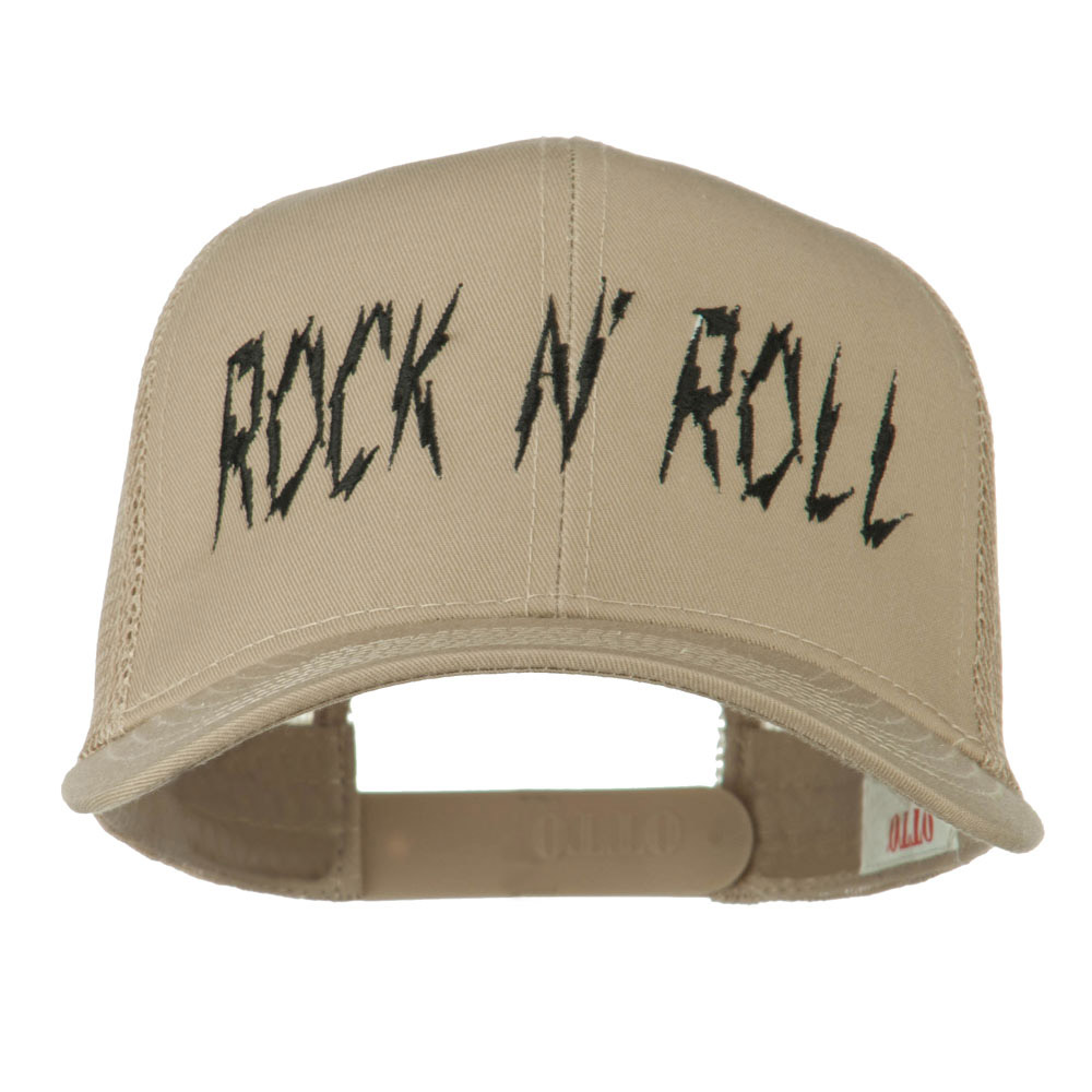 Rock and Roll Embroidered Mesh Cap - Khaki - Hats and Caps Online Shop - Hip Head Gear