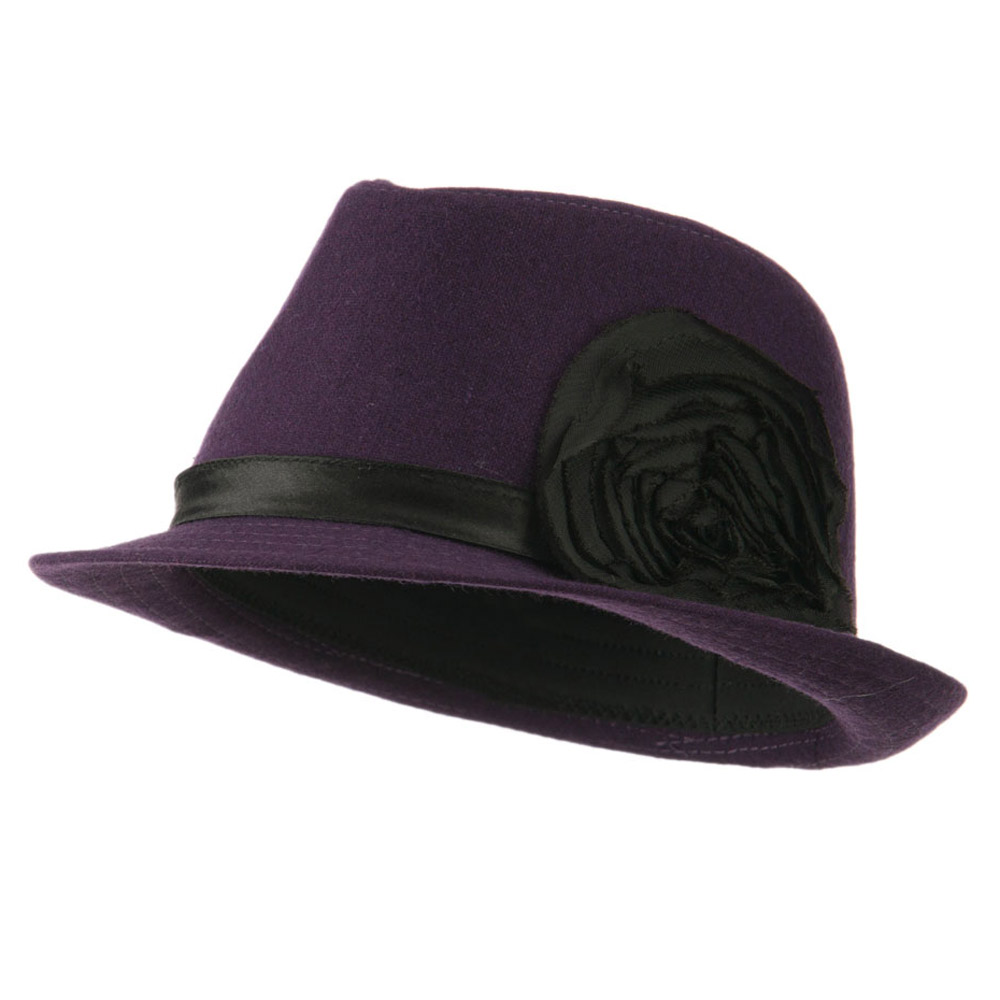Melton Fedora with Rosette - Purple - Hats and Caps Online Shop - Hip Head Gear